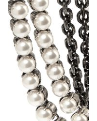 Lanvin - White Mariepol Burnished Silver-plated Faux Pearl Necklace - Lyst