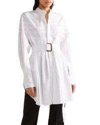 Calvin Klein | White Belted Pleated Cotton-poplin Tunic | Lyst