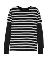 R13 | Black Striped Cotton And Cashmere-blend Jersey Top | Lyst