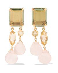 Bounkit - Metallic Gold-tone Amethyst Quartz Earrings - Lyst
