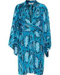 Issa | Blue Poppette Wrap-effect Printed Silk-georgette Dress | Lyst