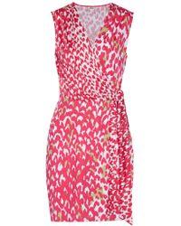 Issa | Pink Bobbi Printed Silk-blend Jersey Mini Dress | Lyst