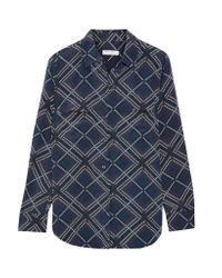 Equipment - Blue Slim Signature Printed Washed-silk Shirt - Lyst