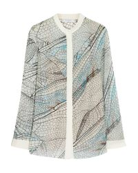 Vionnet - Blue Printed Silk-georgette Blouse - Lyst
