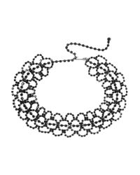 Kenneth Jay Lane | Black Gunmetal-plated Crystal Choker | Lyst