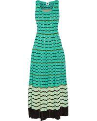 M Missoni | Green Crochet-knit Cotton-blend Maxi Dress | Lyst