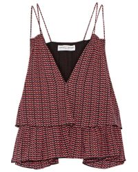 Apiece Apart - Sandro Tiered Ruffled Printed Silk-crepon Camisole - Lyst