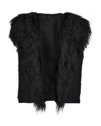 Helmut Lang | Black Shearling And Jacquard-knit Vest | Lyst