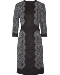 Dolce & Gabbana | Gray Appliquéd Woven Dress | Lyst