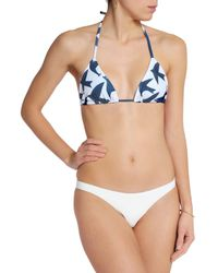 Mara Hoffman - Blue Printed Triangle Bikini Top - Lyst