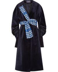 Jacquemus - Blue Oversized Belted Velvet Coat - Lyst