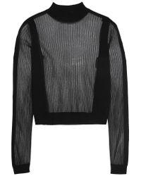 Maison Margiela. Women's Black Paneled Ribbed Wool-blend Sweater