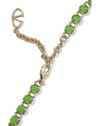 Valentino - Black Gold-plated Painted Crystal Necklace - Lyst