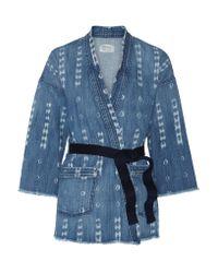 Current/Elliott | Blue The Kimono Printed Stretch-denim Jacket | Lyst