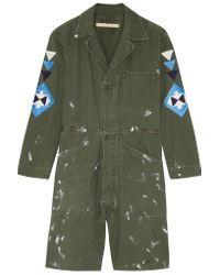 Bliss and Mischief - Green St. Ellen Embroidered Cotton-canvas Playsuit - Lyst