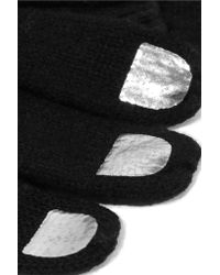 Marc By Marc Jacobs - Black Wild Thing Metallic-trimmed Merino Wool Gloves - Lyst