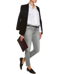 Victoria Beckham - Gray Ankle Slim Mid-rise Jeans - Lyst