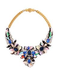 Shourouk | - Apolonia Gold-tone, Crystal And Sequin Necklace - Royal Blue | Lyst