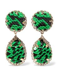 Shourouk - Green - Gold-tone, Crystal And Sequin Clip Earrings - Emerald - Lyst
