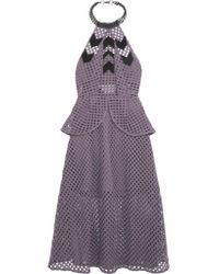 Self-Portrait - Purple Embellished Mesh Peplum Dress - Lyst