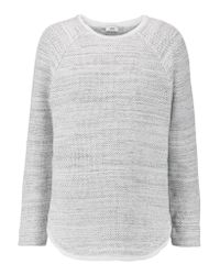 VINCE | White Silk Crepe De Chine-trimmed Cotton-blend Sweater | Lyst