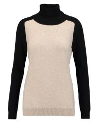 Vince | Natural Two-tone Cashmere Turtleneck Sweater | Lyst