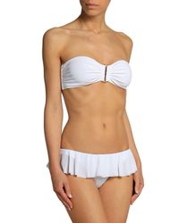 Norma Kamali - White Ruffled Low-rise Bikini Briefs - Lyst