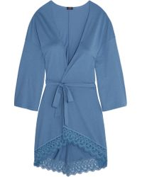 Cosabella | Blue Edith Guipure Lace-trimmed Pima Cotton And Modal-blend Robe | Lyst