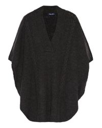 Splendid | Black Sierra Faux Leather-trimmed Cable-knit Poncho | Lyst