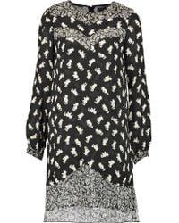 Anna Sui | Black Shadow Cats Printed Silk Chiffon-paneled Georgette Mini Dress | Lyst