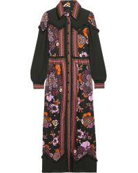 Anna Sui   Multicolor Posey Chiffon-paneled Floral-print Twill Maxi Dress   Lyst