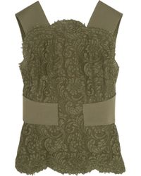 Emilio Pucci - Green Guipure Lace-paneled Knitted Top - Lyst