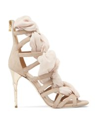 Balmain | Natural Woven Chiffon And Suede Sandals | Lyst