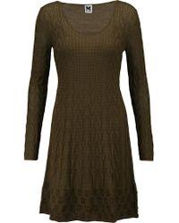 M Missoni | Green Intarsia-knit Stretch Wool-blend Mini Dress | Lyst