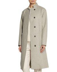Victoria Beckham - Gray Wool-felt Coat - Lyst