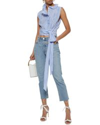MILLY - Luna Ruffled Striped Silk And Cotton-blend Top Light Blue - Lyst