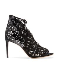 Nicholas Kirkwood | Natural Laser-cut Nubuck And Patent-leather Sandals | Lyst