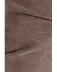 Brunello Cucinelli - Brown Suede Skinny Pants - Lyst