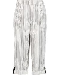 Alice + Olivia - White Rey Leather-trimmed Striped Cotton-twill Culottes - Lyst