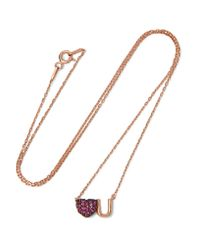 Aamaya By Priyanka | Metallic Love U Rose Gold-plated Ruby Necklace | Lyst