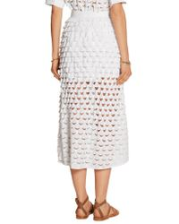 Paul & Joe - White Eolienne Broderie Anglaise Cotton Midi Skirt - Lyst