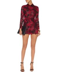 Valentino - Red Guipure Lace And Silk-organza Playsuit - Lyst