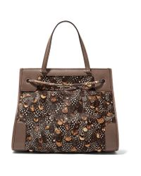 Valentino | Brown Python And Leather-trimmed Calf Hair Tote | Lyst