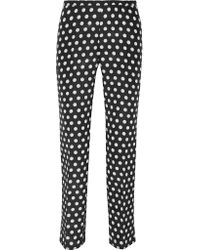 Rochas | Multicolor Printed Cotton And Silk-blend Faille Slim-leg Pants | Lyst
