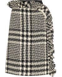 Simone Rocha | Black Embellished Plaid Bouclé-tweed And Embroidered Tulle Skirt | Lyst