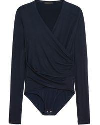 Donna Karan - Blue Wrap-effect Jersey And Stretch-satin Bodysuit - Lyst