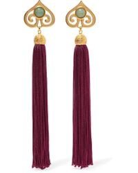Ben-Amun | Multicolor Gold-tone, Stone And Tassel Clip Earrings | Lyst