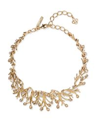 Oscar de la Renta - Gray Seaweed Gold-tone Crystal Necklace - Lyst