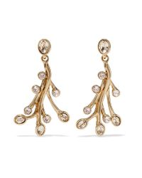 Oscar de la Renta | Metallic Seaweed Gold-plated Crystal Earrings | Lyst