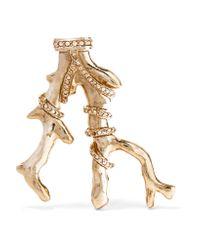 Oscar de la Renta | Metallic Gold-tone Crystal Brooch | Lyst